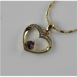 Estate Heart Pendant and Chain with Swarovski Elements.