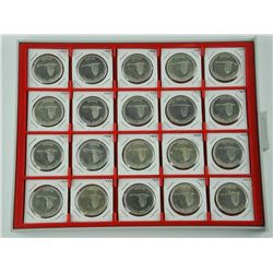 Lot (20) Canada 1867-1967 Silver Dollar Coins in Tray. 150 Years (1967-2017)