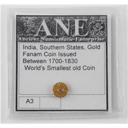 India Southern States, Gold Fanam Coin. Issued Between 1700-1830 Worlds Smallest Gold Coin