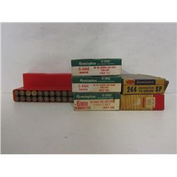 6MM REM AND 244 REM 55 ROUNDS & 56 PIECES BRASS