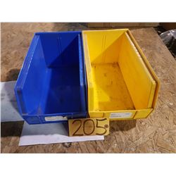"Plastic Bin 8"" x 14"" for 100 Yellow (some blue left)"