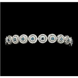 4.58 ctw Blue and White Diamond Bracelet - 14KT White Gold