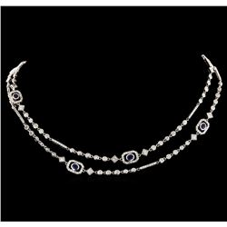 2.08 ctw Sapphire and Diamond Necklace - 18KT White Gold
