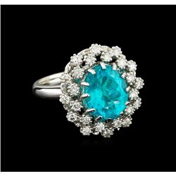 4.08 ctw Apatite and Diamond Ring - 14KT White Gold