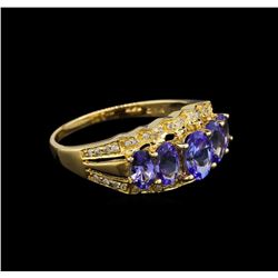 14KT Yellow Gold 2.22 ctw Tanzanite and Diamond Ring
