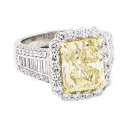 5.02 ctw Center Fancy Yellow Diamond Ring - Platinum