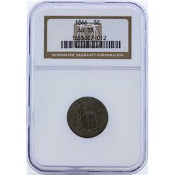 1866 Shield Nickel with Rays Coin NGC AU55