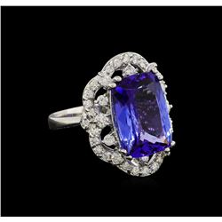 7.78 ctw Tanzanite and Diamond Ring - 14KT White Gold