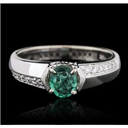 14KT White Gold 0.50 ctw Emerald and Diamond Ring