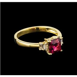 1.09 ctw Pink Tourmaline and Diamond Ring - 14KT Yellow Gold