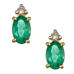 0.9 ctw Emerald and Diamond Earrings - 14KT Yellow and White Gold