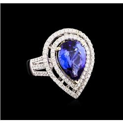 14KT Two-Tone 5.39 ctw Tanzanite and Diamond Ring