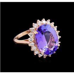 10.30 ctw Tanzanite and Diamond Ring - 14KT Rose Gold