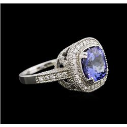 4.26 ctw Tanzanite and Diamond Ring - 14KT White Gold
