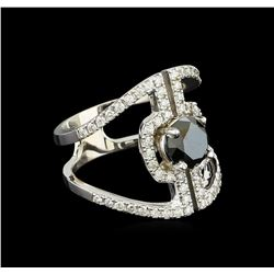 2.28 ctw Black Diamond Ring - 14KT White Gold