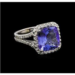 5.06 ctw Tanzanite and Diamond Ring - 14KT White Gold