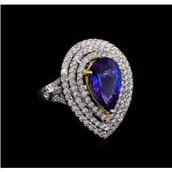 14KT Two-Tone Gold 5.47 ctw Tanzanite and Diamond Ring