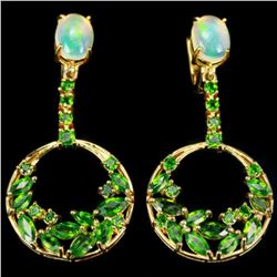 Natural OPAL & GREEN TSAVORITE GARNET Earrings