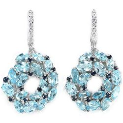 Natural SKY BLUE TOPAZ SAPPHIRE Earrings