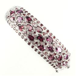 Natural Raspberry Pink Rhodolite  Garnet Bangle