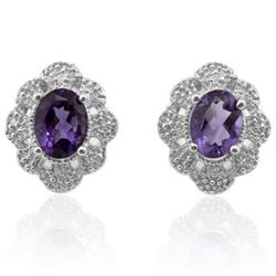 Natural Amethyst & Diamond 2.36 carats Earrings