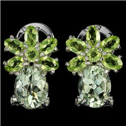 NATURAL GREEN AMETHYST & PERIDOT Earrings