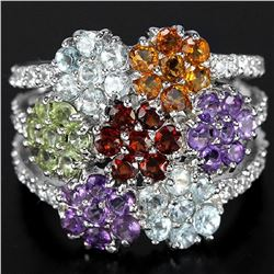 Natural Multi Gemstones Flower Ring