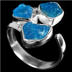 Natural Paraiba Blue Rough Apatite Free Size Ring