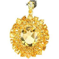 Natural ORANGISH YELLOW CITRINE  Pendant