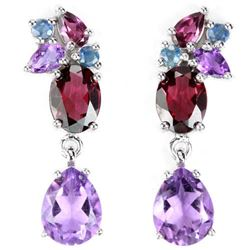 NATURAL AMETHYST RHODOLITE GARNET & IOLITE Earrings