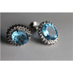 Natural Sky Blue Topaz Earrings