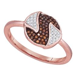 0.17 CTW Red Color Diamond Fashion Ring 10KT Rose Gold - REF-22H4M