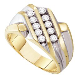 0.50 CTW Mens Diamond Double Row Ring 10KT Yellow Gold - REF-44M9H