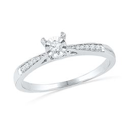 0.10 CTW Diamond Solitaire Bridal Engagement Ring 10KT White Gold - REF-14F9N