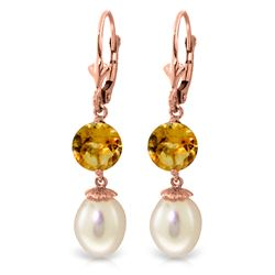 Genuine 11.10 ctw Pearl & Citrine Earrings Jewelry 14KT Rose Gold - REF-26A6K