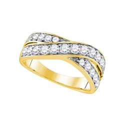 1 CTW Diamond Double Row Crossover Ring 14KT Yellow Gold - REF-94F4N