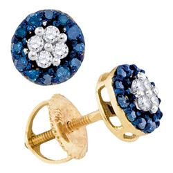 0.33 CTW Blue Color Cluster Diamond Screwback Stud Earrings 10KT Yellow Gold - REF-16M4H
