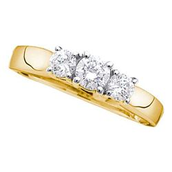 0.54 CTW Diamond 3-stone Bridal Engagement Ring 14KT Yellow Gold - REF-52W4K