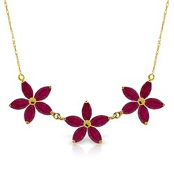 Genuine 5 ctw Ruby Necklace Jewelry 14KT Yellow Gold - REF-86M3T