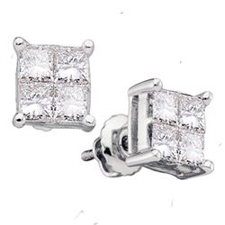 0.25 CTW Princess Diamond Square Cluster Stud Earrings 14KT White Gold - REF-26F3N