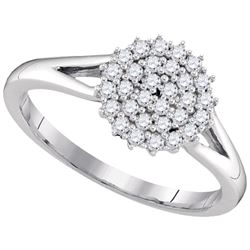 0.30 CTW Diamond Circle Cluster Ring 10KT White Gold - REF-34X4Y