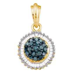 0.50 CTW Blue Color Diamond Cluster Pendant 10KT Yellow Gold - REF-22X4Y