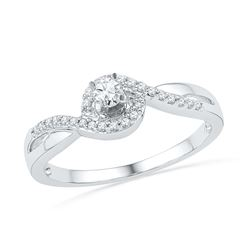 0.20 CTW Diamond Solitaire Swirl Promise Bridal Ring 10KT White Gold - REF-20Y9X