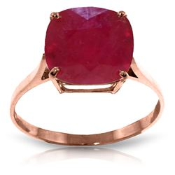 Genuine 6.75 ctw Ruby Ring Jewelry 14KT Rose Gold - REF-70M6T