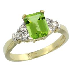 Natural 1.48 ctw peridot & Diamond Engagement Ring 10K Yellow Gold - REF-43W2K