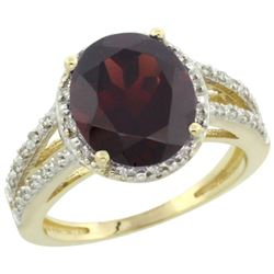 Natural 3.47 ctw Garnet & Diamond Engagement Ring 10K Yellow Gold - REF-38N8G