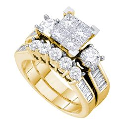 3 CTW Princess Diamond Bridal Engagement Ring 14KT Yellow Gold - REF-449N9F