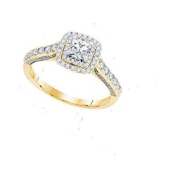 1 CTW Princess Diamond Solitaire Bridal Engagement Ring 14KT Yellow Gold - REF-132X2Y