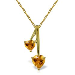 Genuine 1.40 ctw Citrine Necklace Jewelry 14KT Yellow Gold - REF-23V8W