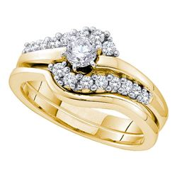 0.50 CTW Diamond Swirl Bridal Engagement Ring 14KT Yellow Gold - REF-94K5W